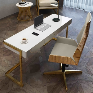 Nordic White Glossy Wooden Finish Stainless Steel Base Writing Desk