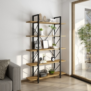 Minimalist Yellow Bookcase with Iron Frame 5 Wooden Tiers Etagere