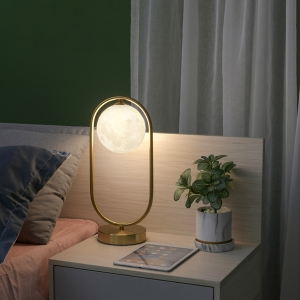Elegant Moon Mimic Table Lamp with Stainless Steel Metal Base Table Light