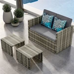 YITAHOME 4PCS Patio Furniture Outdoor Sectional Cushion Couch Rattan Wicker Sofa
