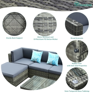 YITAHOME 5Pcs Outdoor Patio Sofa Rattan Wicker Cushion Couch Sectional Set Chair