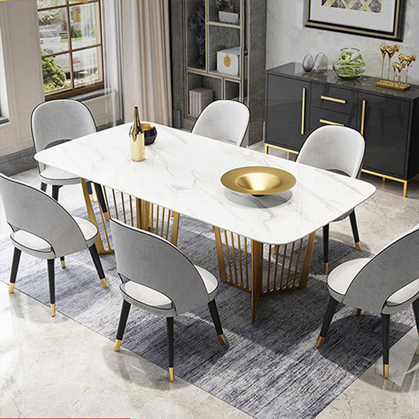 Luxurious Rectangle White Marble Top, White Marble Top Dining Room Table