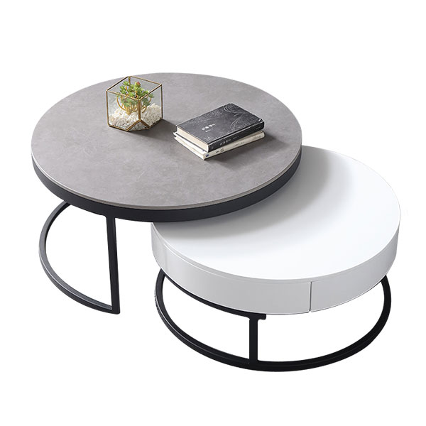 Classical Round 2 Piece Fine Marble, Nesting Coffee Tables Round