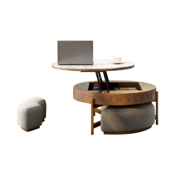 Contemporary Round Tempered Glass Lift, Round Coffee Table With Stools